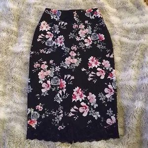 Black floral express pencil skirt sz 2